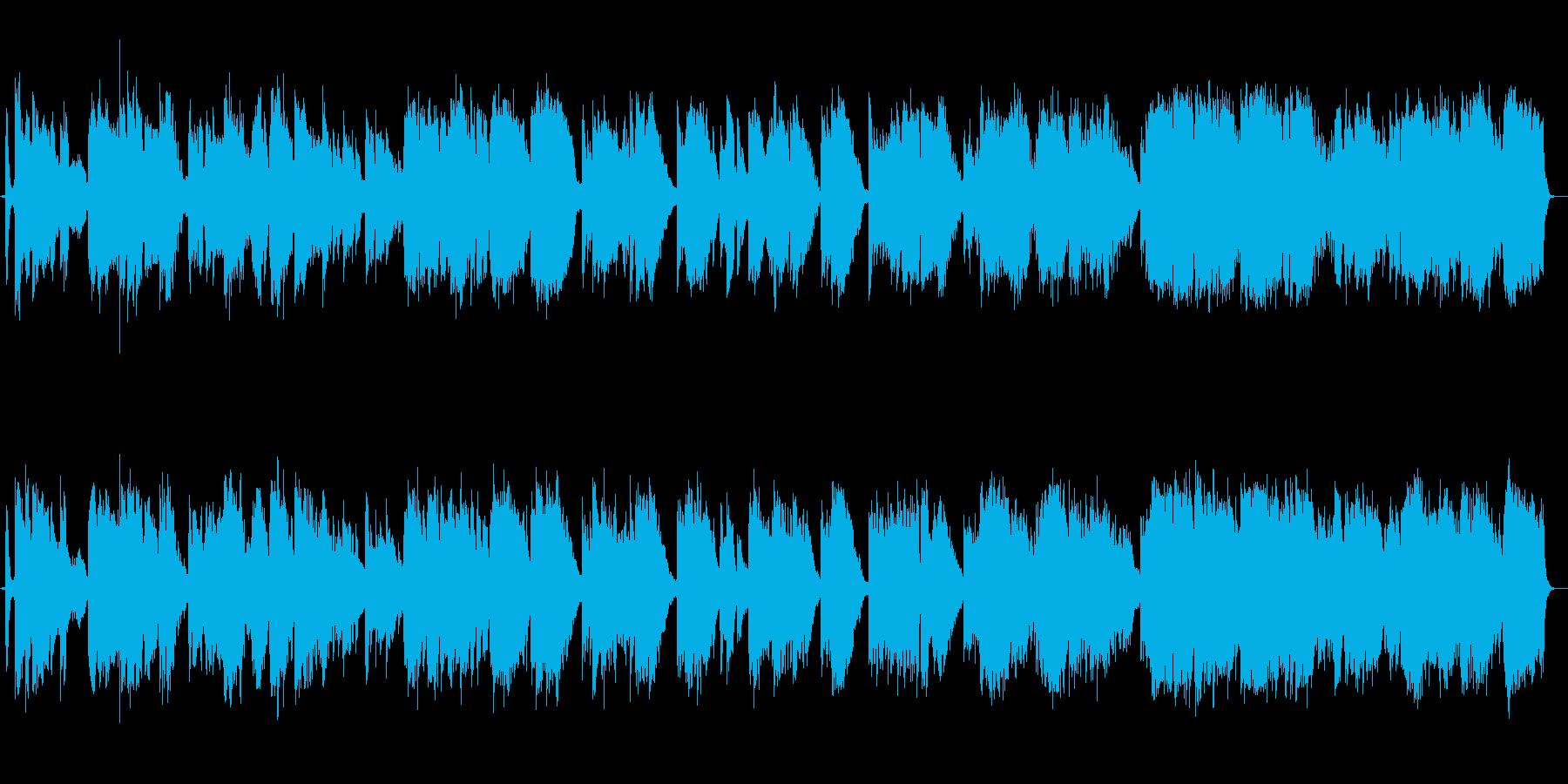 尺八とピアノの荘厳な楽曲の再生済みの波形