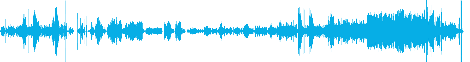 変化の激しい10パート編成のアンサンブルの再生済みの波形