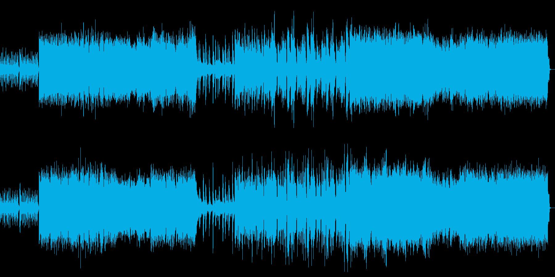 ストリングスのハードロックなバンドBGMの再生済みの波形