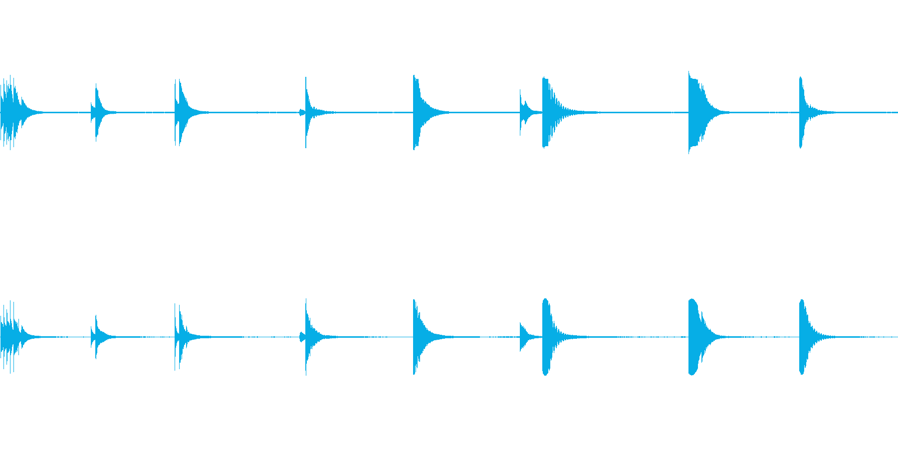 ベルテンプルリング複数の再生済みの波形