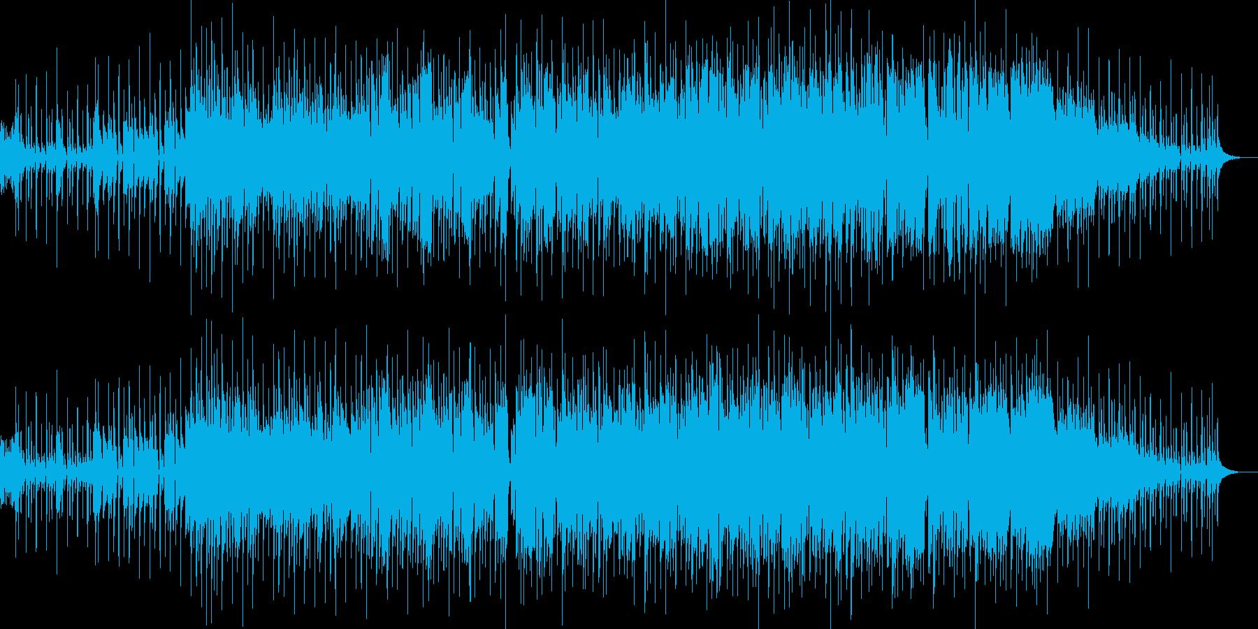元気な掛け声とともに始まるリズミカルな曲の再生済みの波形