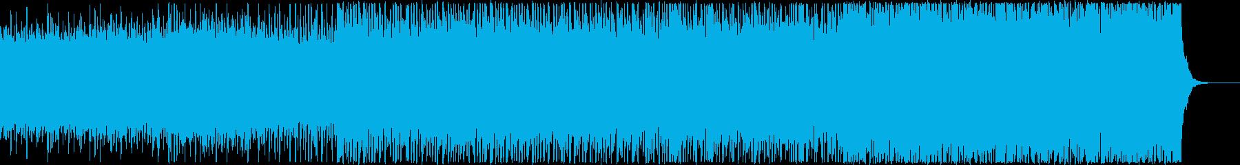 シンセやギターを使用したポップで明るい曲の再生済みの波形