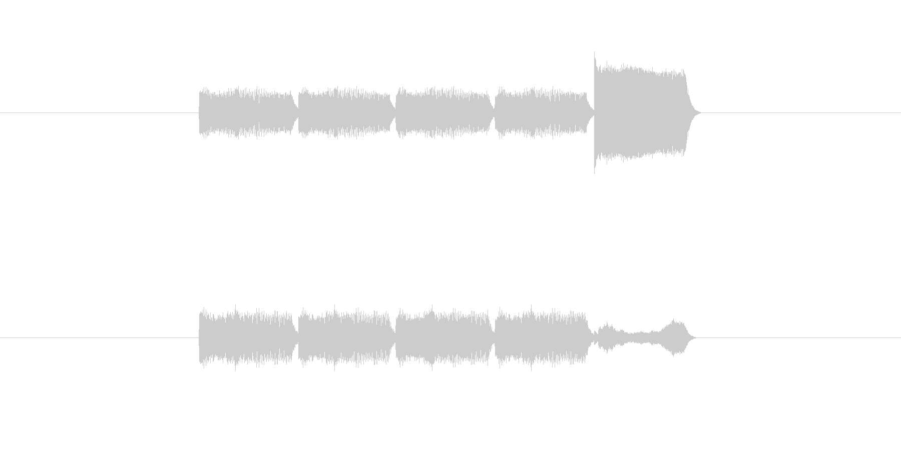 「5」を表す音のカウンターですの未再生の波形