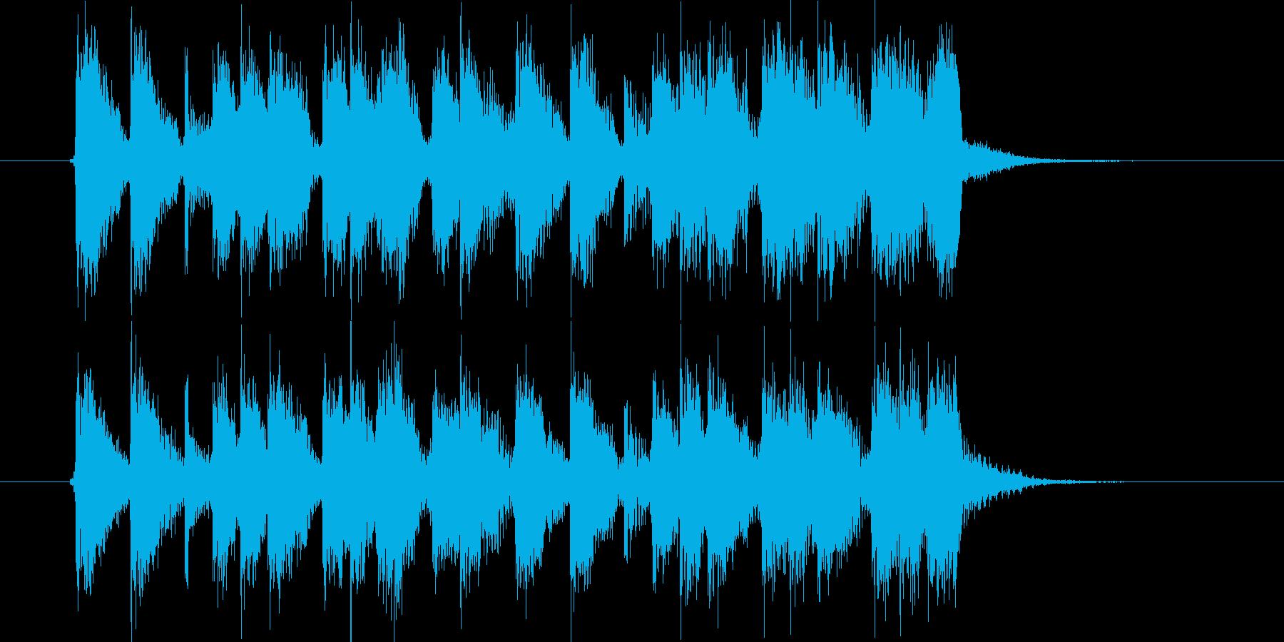 明るくて弾けたロックバンドのジングル曲の再生済みの波形