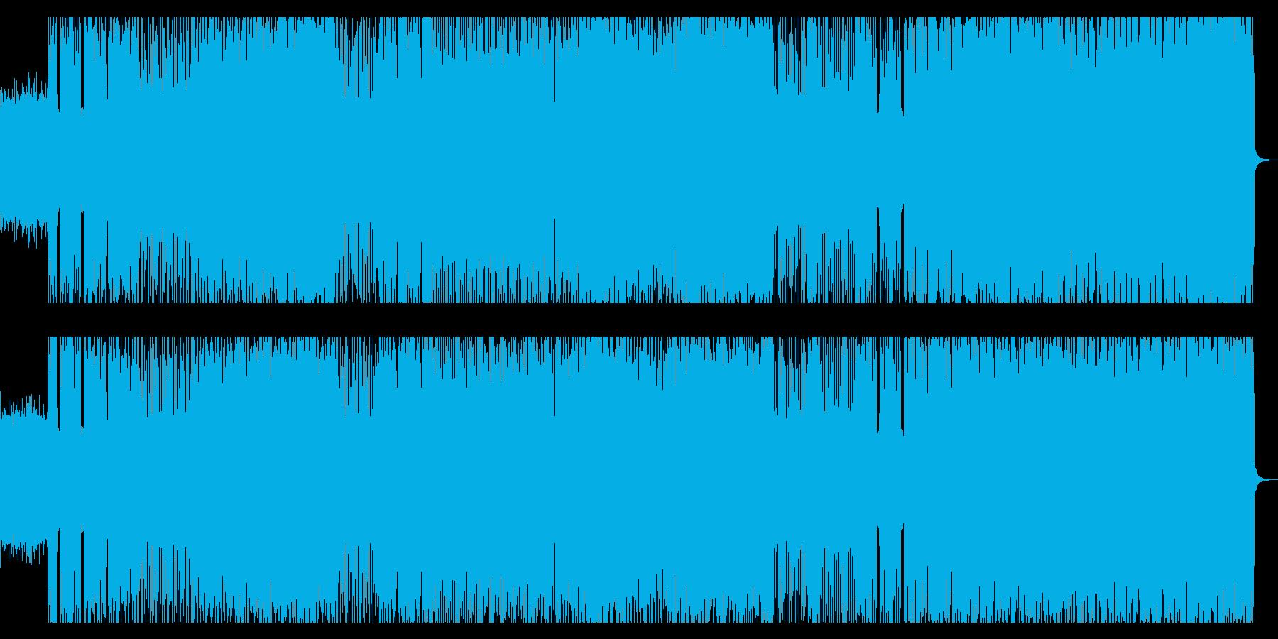 メタル、ハードロック風の重く激しいロックの再生済みの波形