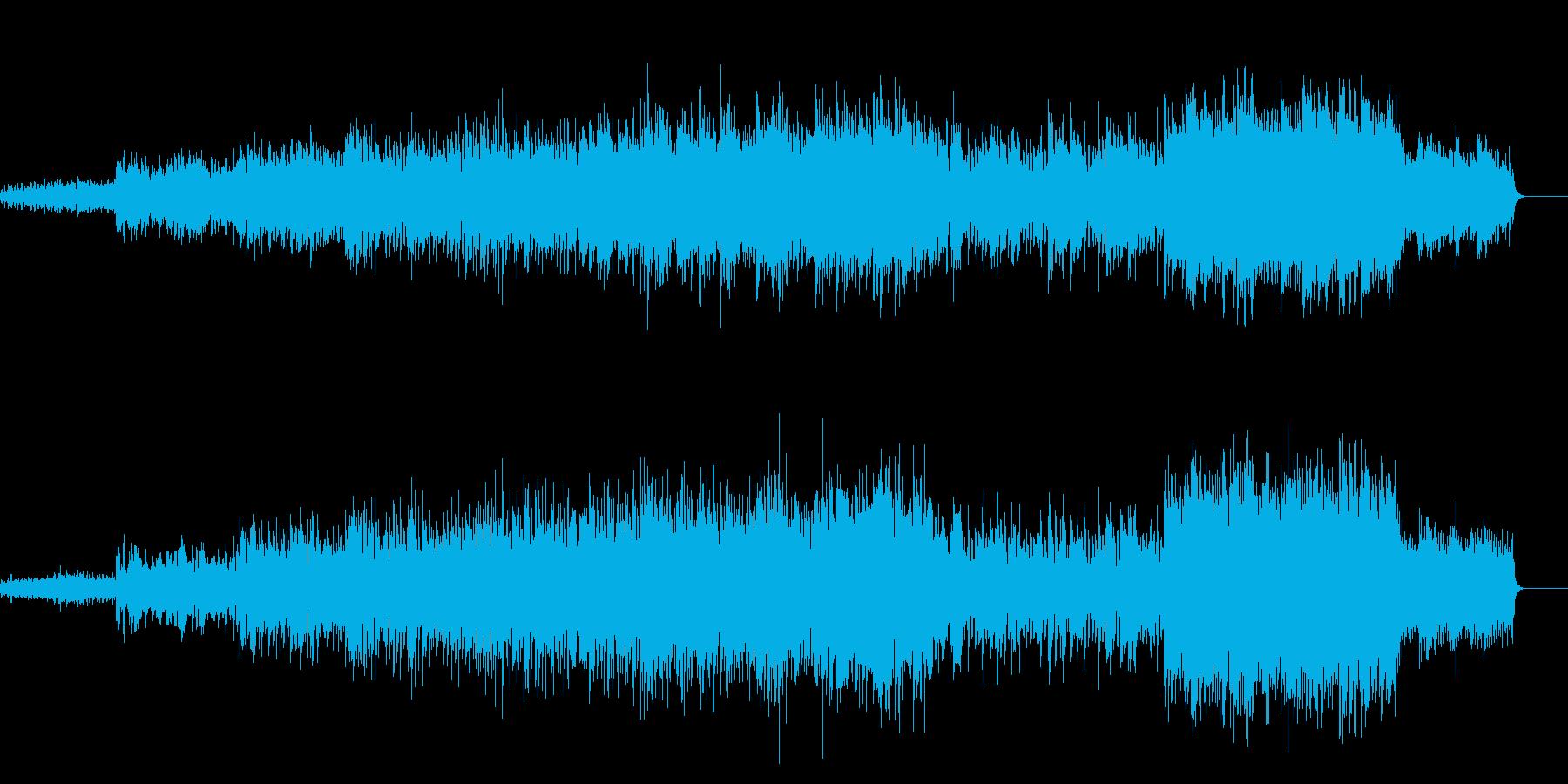 エレキギターと希望感のあるBGMの再生済みの波形