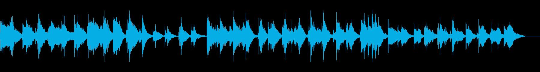 静けさの中に琴と尺八が鳴り響く楽曲の再生済みの波形