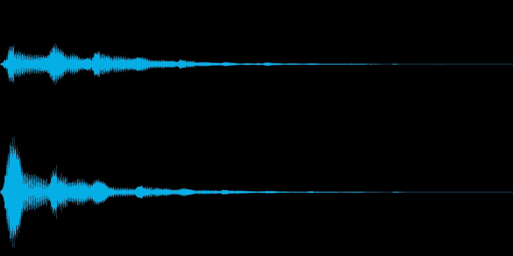 ポンのあとに余韻が広がるタイプの音の再生済みの波形