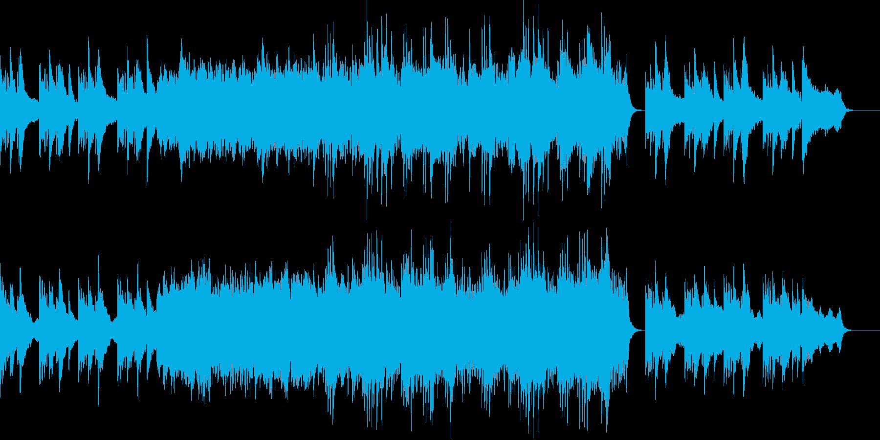 ピアノから始まり盛り上がっていくBGMの再生済みの波形