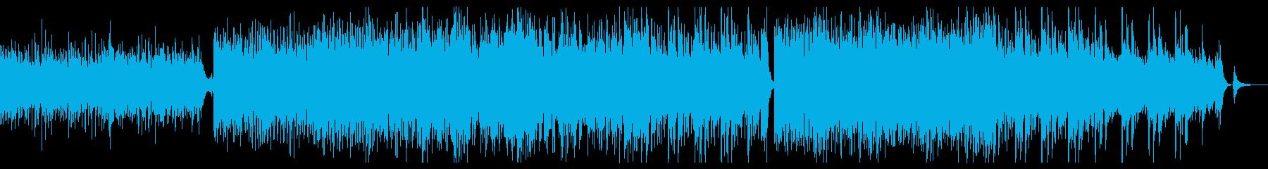 軽快で明るい四つ打ち曲の再生済みの波形