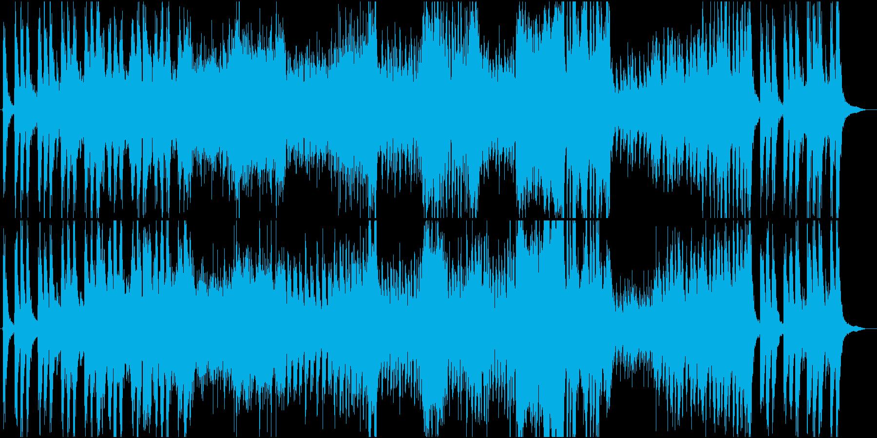 激しく緊迫感あるオーケストラ戦闘曲の再生済みの波形
