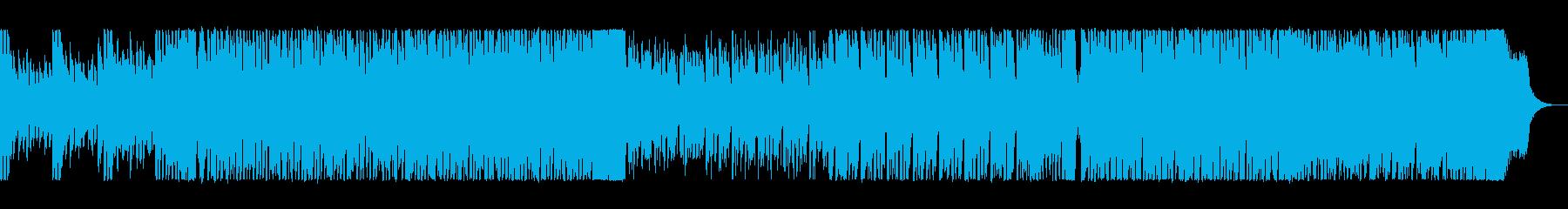 シンセサイザーとドラムのリズミカルな曲の再生済みの波形