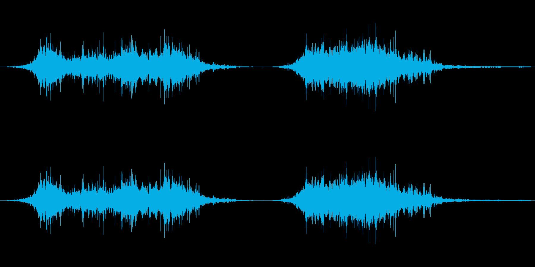 羽ばたく鳩の群れ、2回の再生済みの波形