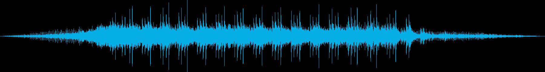 ディーゼル機関車牽引の貨物列車の通過音の再生済みの波形