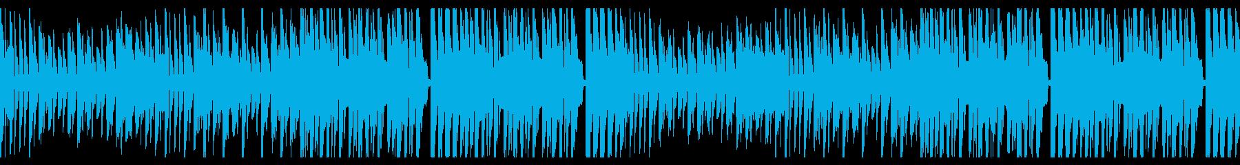 サイバーな世界感の戦闘BGM ループの再生済みの波形