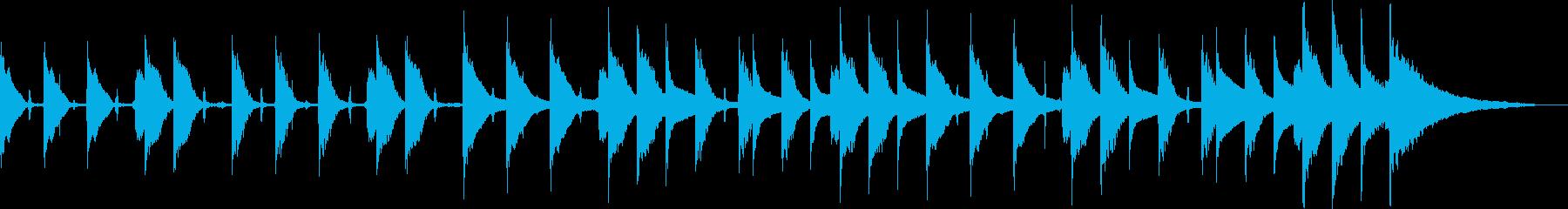 軽快なピアノとベルのBGMの再生済みの波形