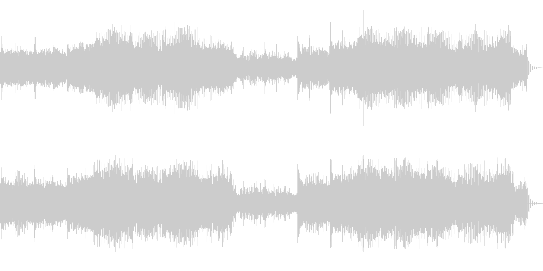 機械的で浮遊感あるシンセサイザーの曲の未再生の波形