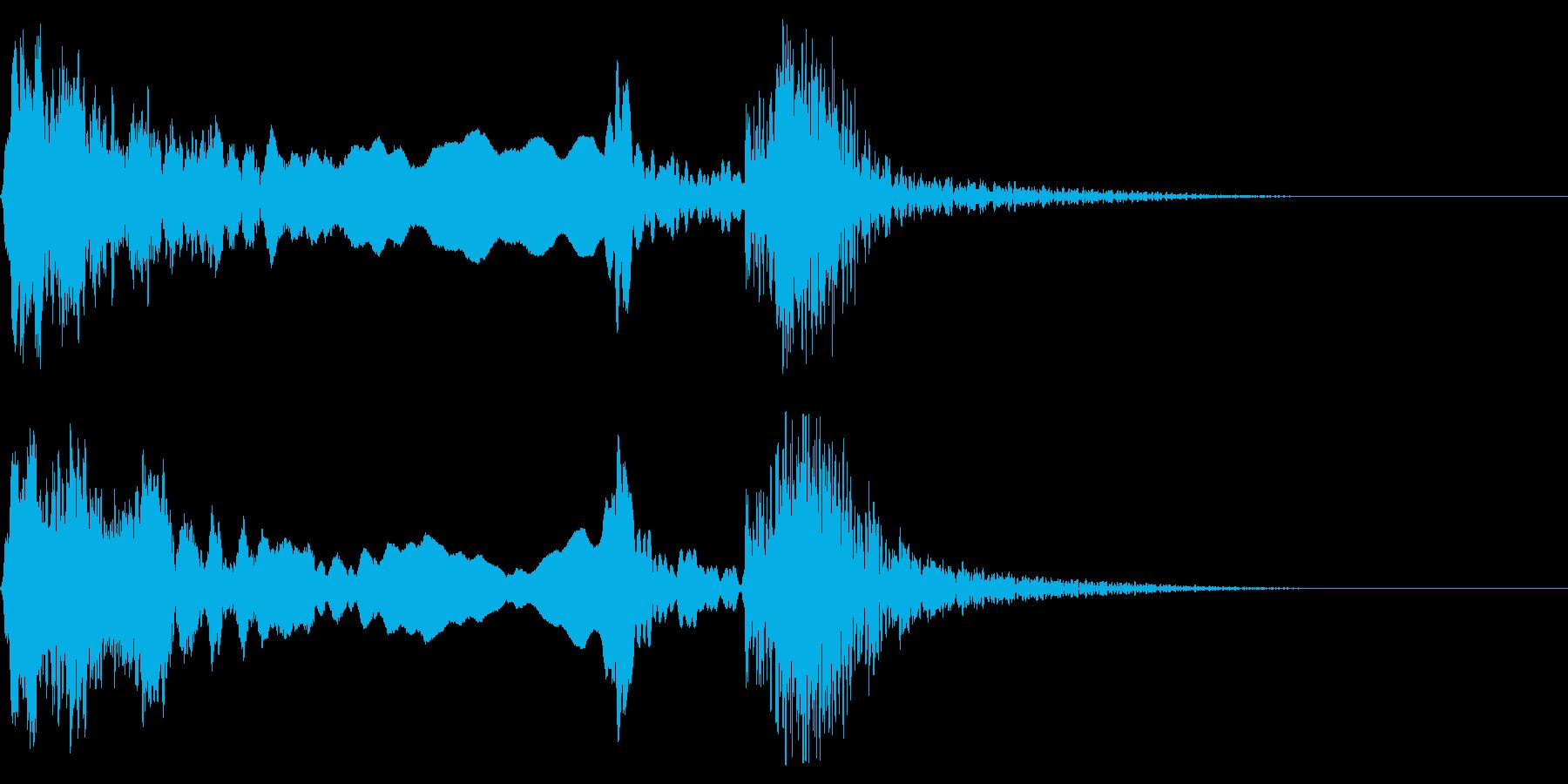 和風な歌舞伎の笛(能管)太鼓インパクト5の再生済みの波形