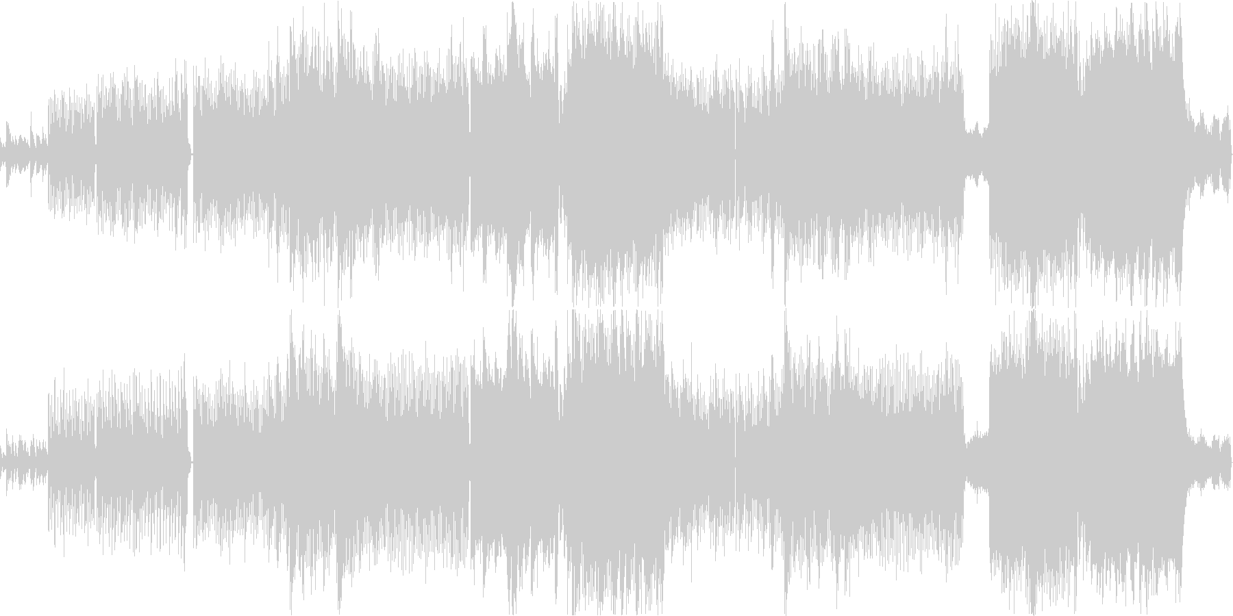 透明感のある女性voとピアノの四つ打ち曲の未再生の波形