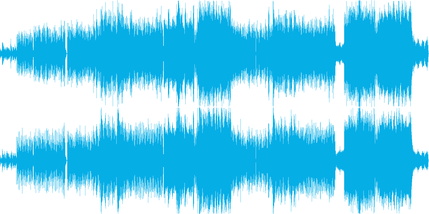 透明感のある女性voとピアノの四つ打ち曲の再生済みの波形