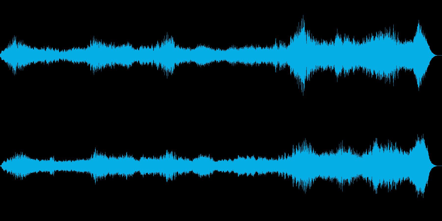 暗闇で聞こえる不気味な風音、環境音の再生済みの波形