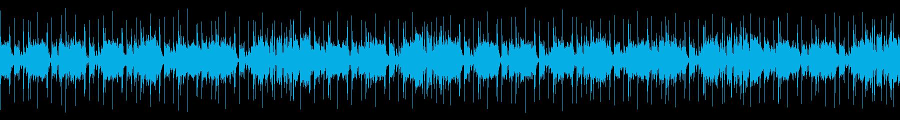 軽快な16ビートのブルースBGMの再生済みの波形