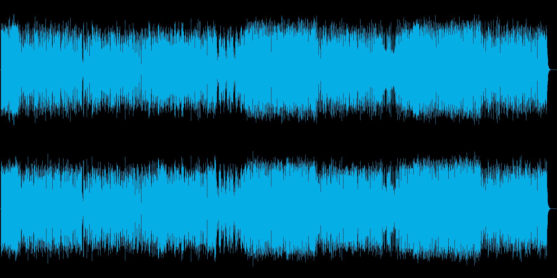 華やかでにぎやかなオーケストラ曲の再生済みの波形