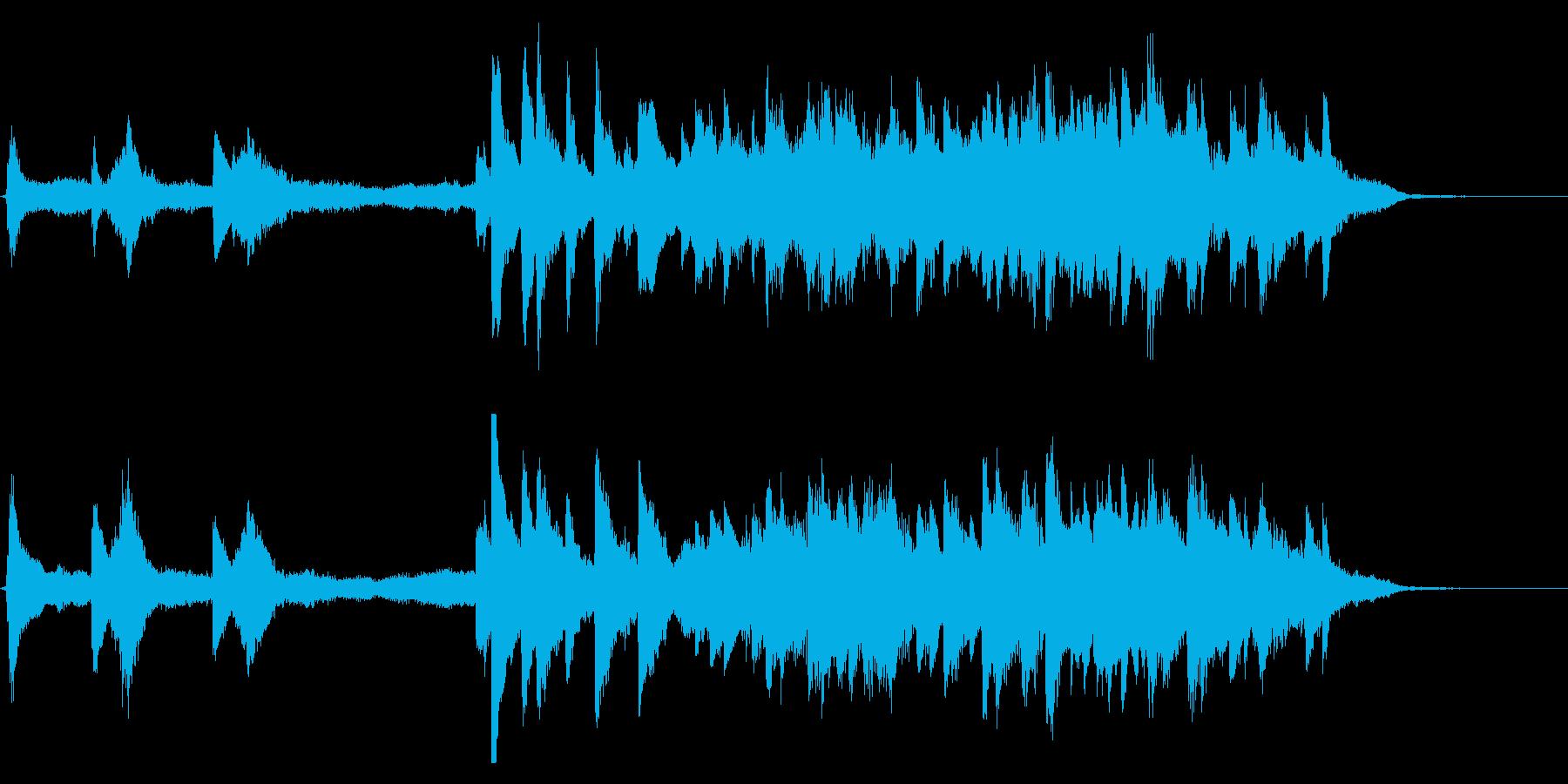 ピアノとストリングスの30秒CM向けの曲の再生済みの波形