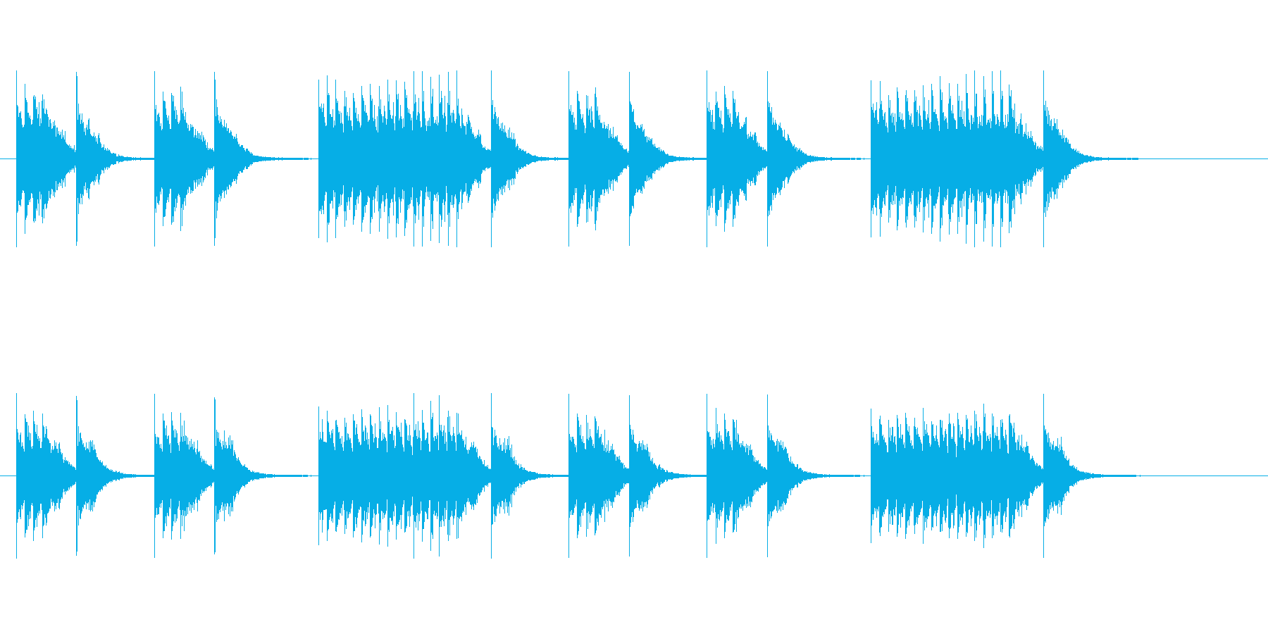 マーチングバンドのスネアリズム2の再生済みの波形