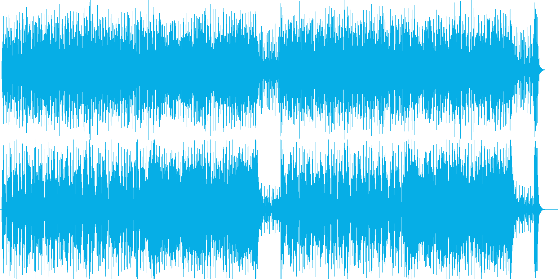 スピード感のあるシンセサイザーの曲の再生済みの波形
