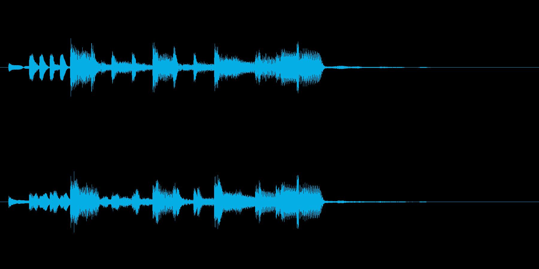 ポップでエレクトリカルな5秒ジングルの再生済みの波形