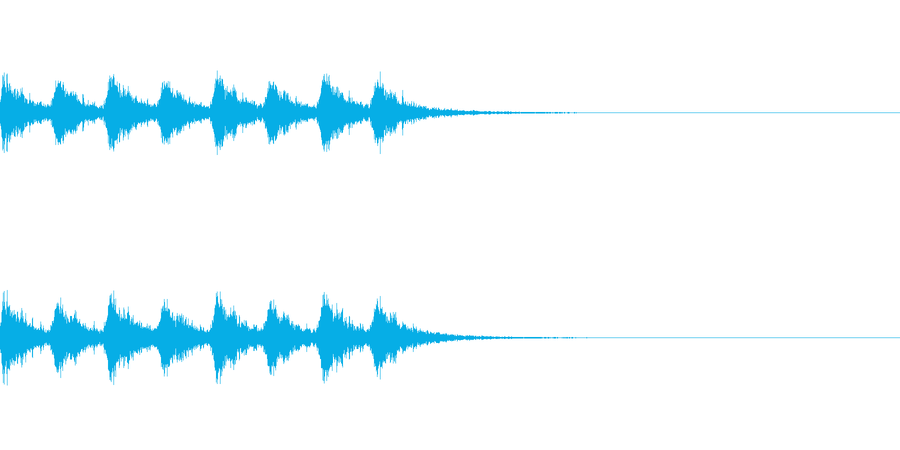 サンタっぽい鈴が8回鳴ります。の再生済みの波形