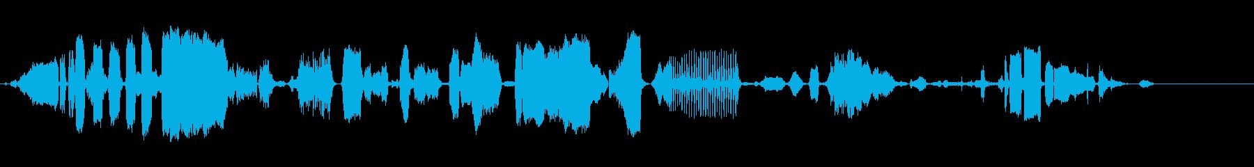 さまざまなねじれた動物の音、ヤク、...の再生済みの波形
