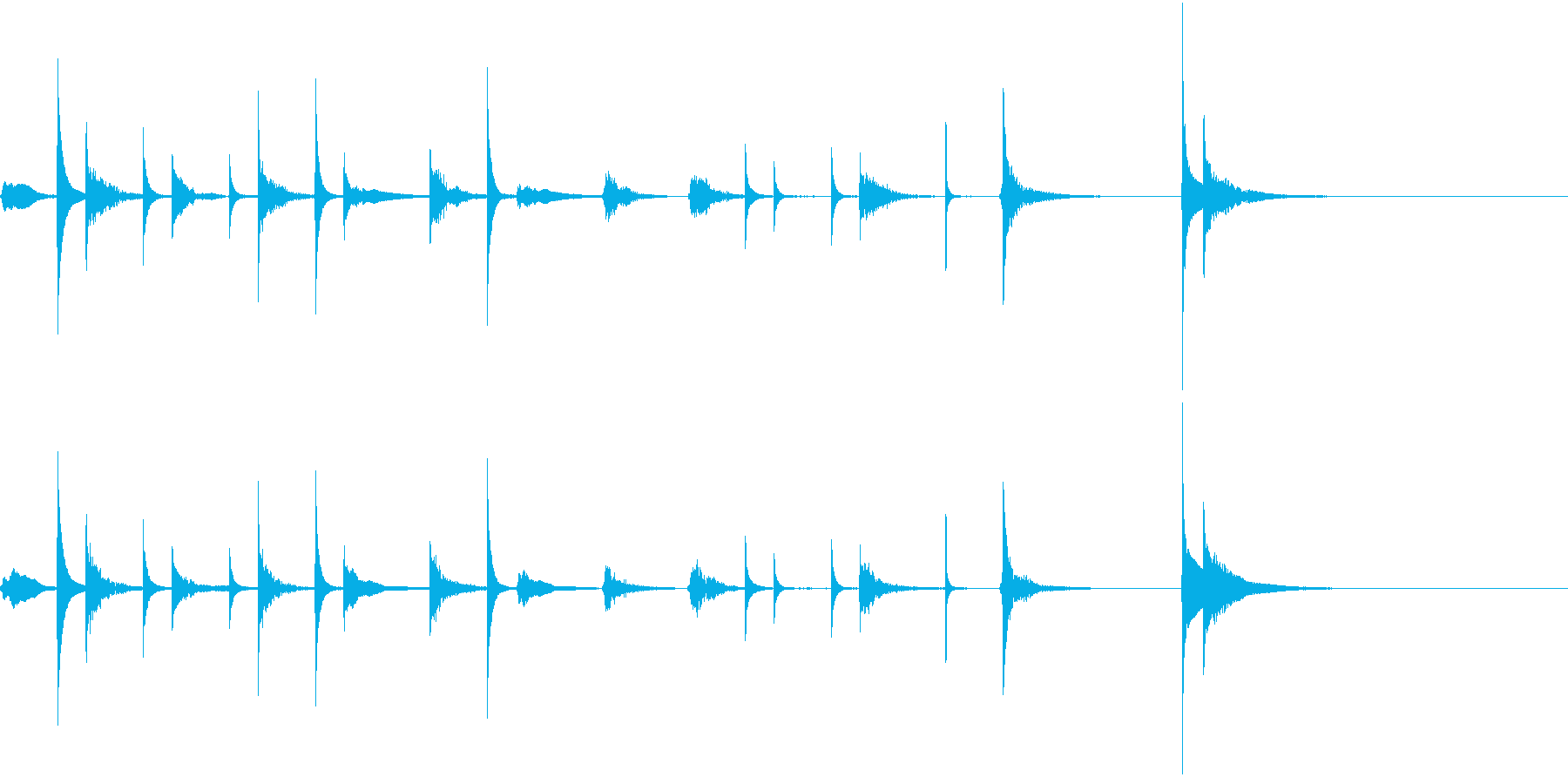 マリンバの可愛らしいジングルの再生済みの波形
