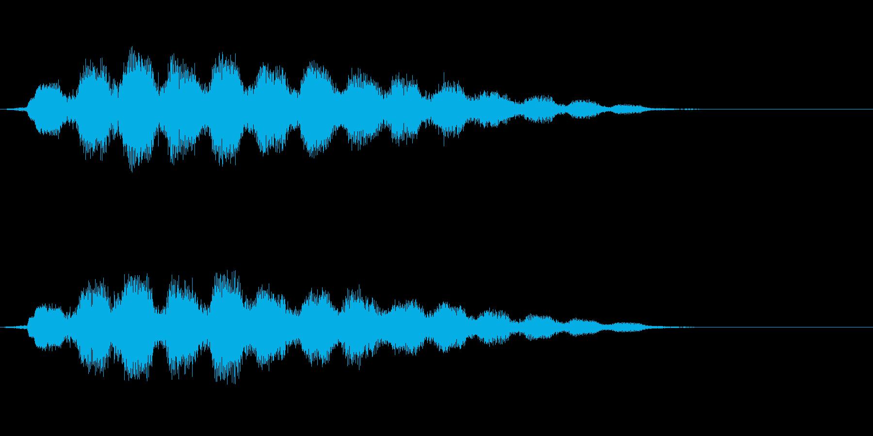 波と電子音からなる短めのジングルの再生済みの波形