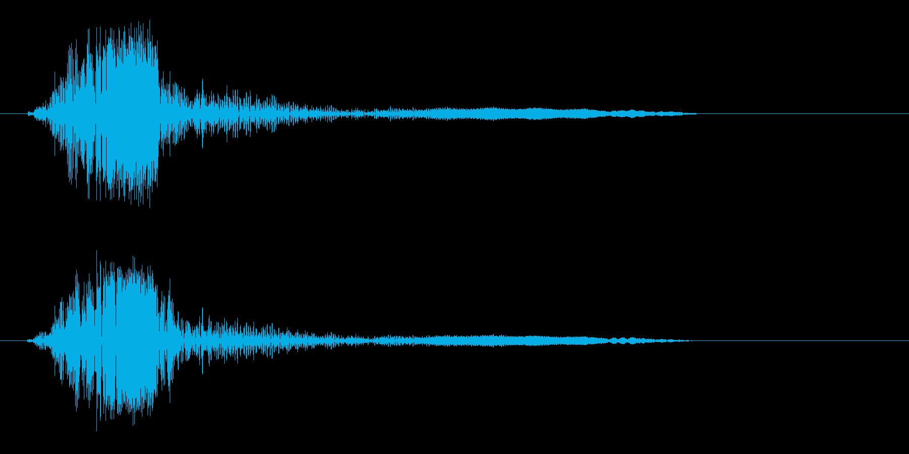 軽く響きわたる風切り音の再生済みの波形