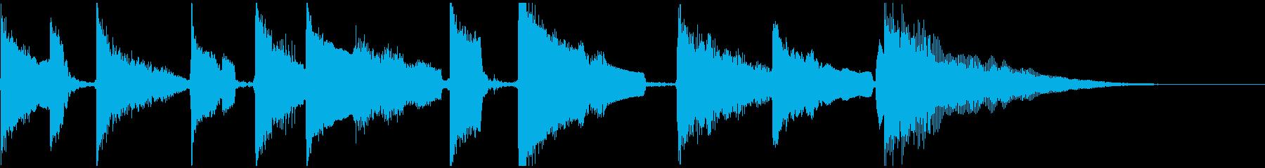 陶器の音 注ぐ音 アコギの優しいジングルの再生済みの波形