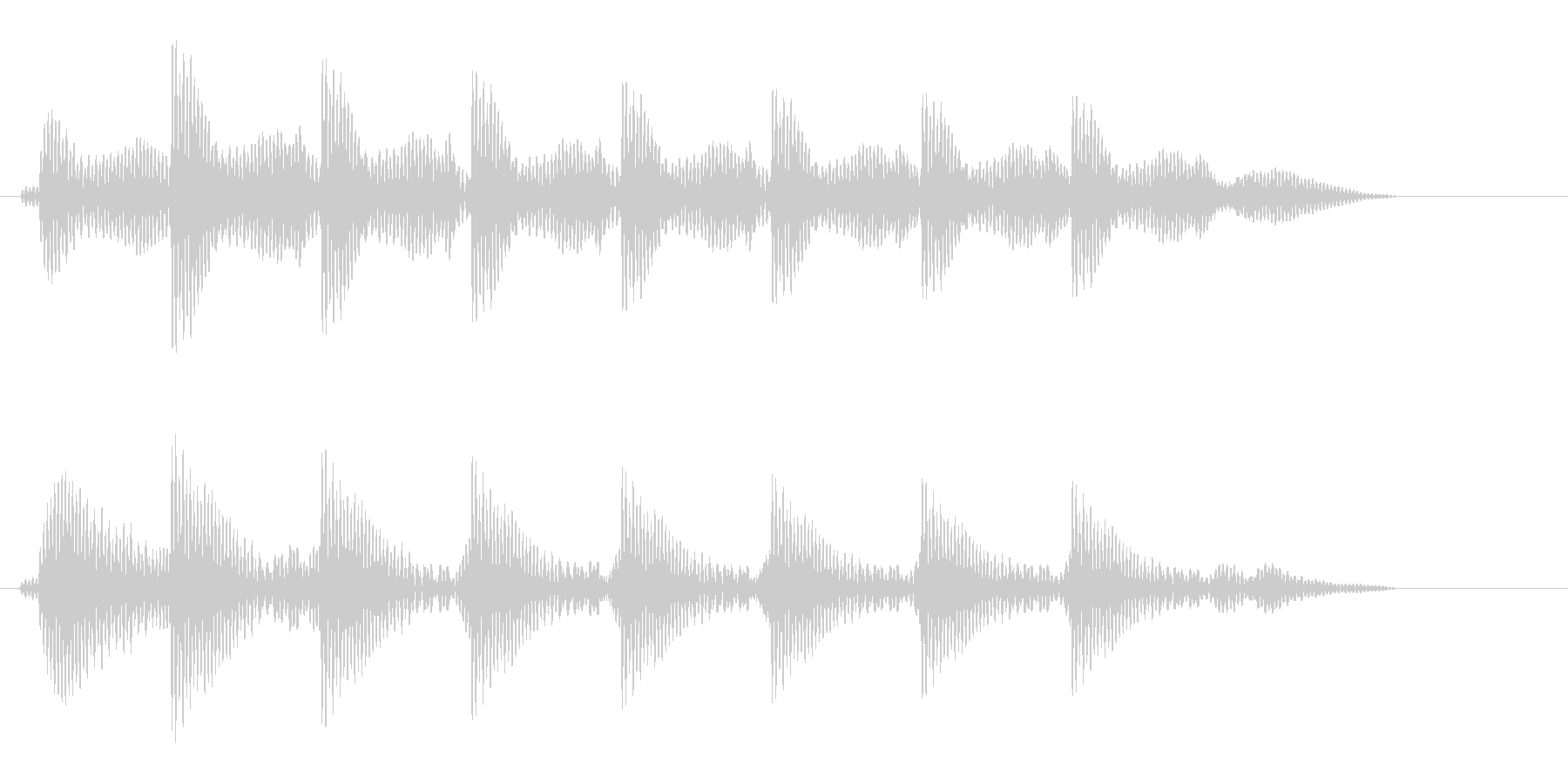 タタタタタという文字の打ち込み音の未再生の波形