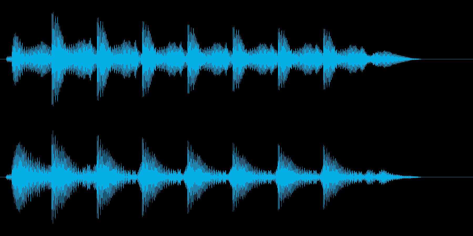 タタタタタという文字の打ち込み音の再生済みの波形