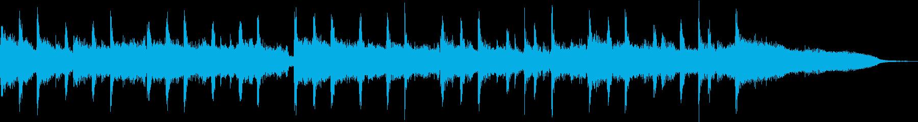 エレキとピアノの力強い掛け合いのジングルの再生済みの波形