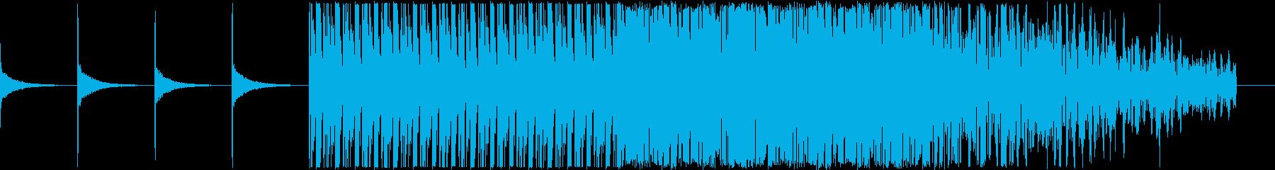 浮遊感ある中にノイズが混ざった電脳音楽の再生済みの波形