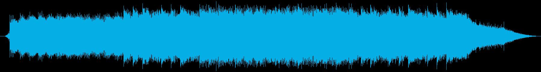 雨の音とピアノの幻想的な曲の再生済みの波形