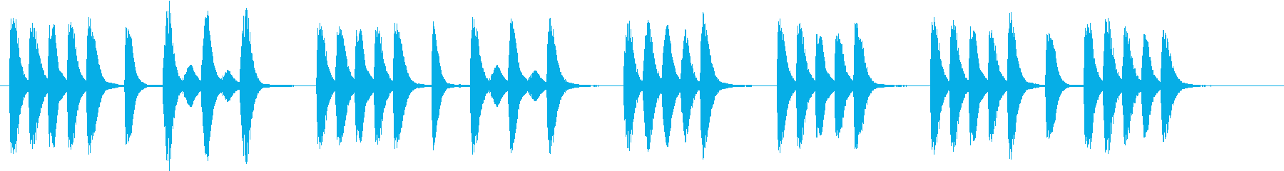 木琴で作ったコミカルな短いジングルの再生済みの波形