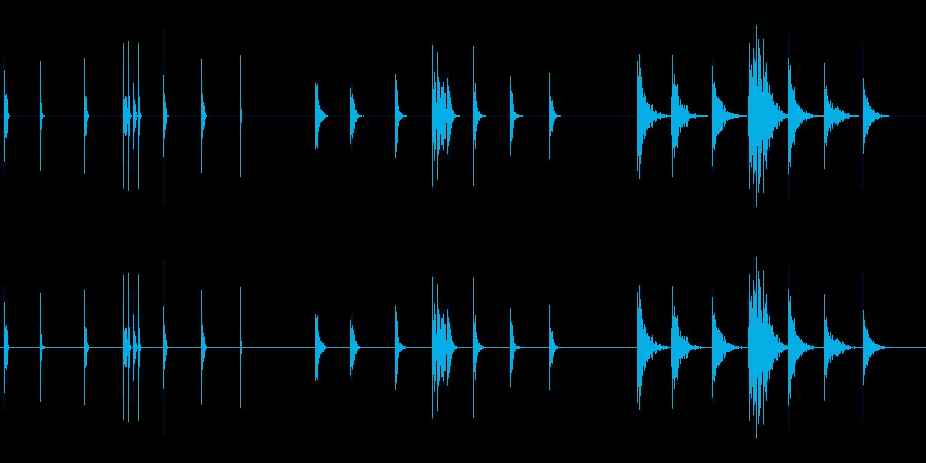ピープ音とビープ音3の再生済みの波形