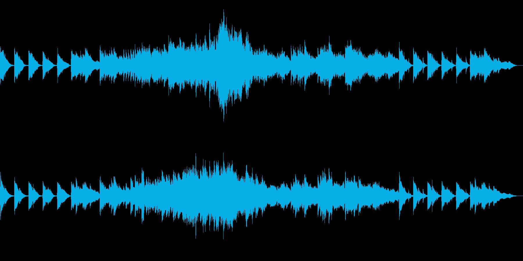 ピアノとオケ=暗いつぶやき→希望→暗いの再生済みの波形