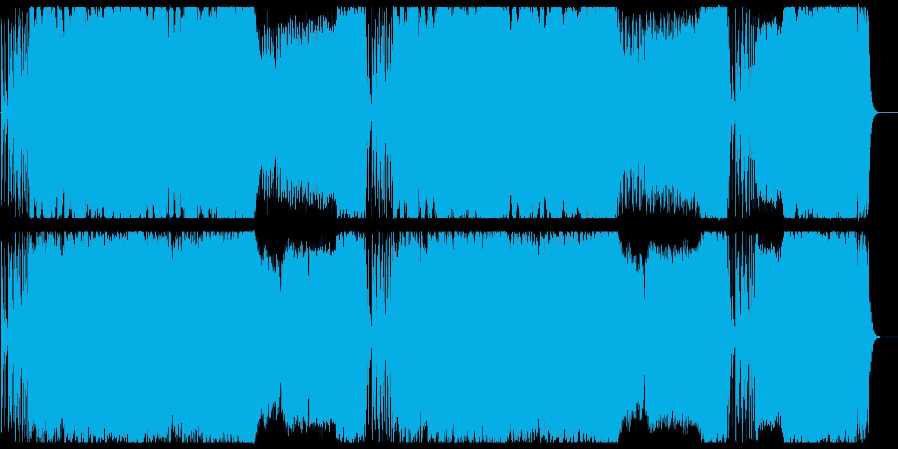 壮大で賑やかなオーケストラの曲の再生済みの波形