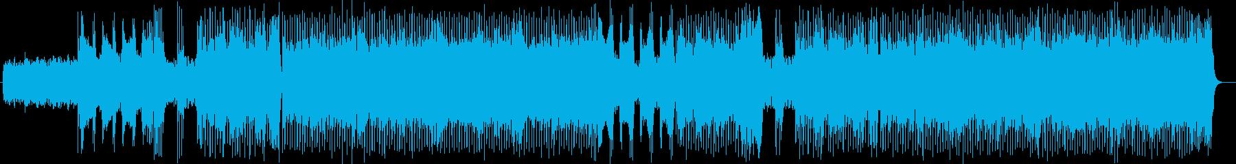ポップで躍動感があるギターとピアノ等の曲の再生済みの波形