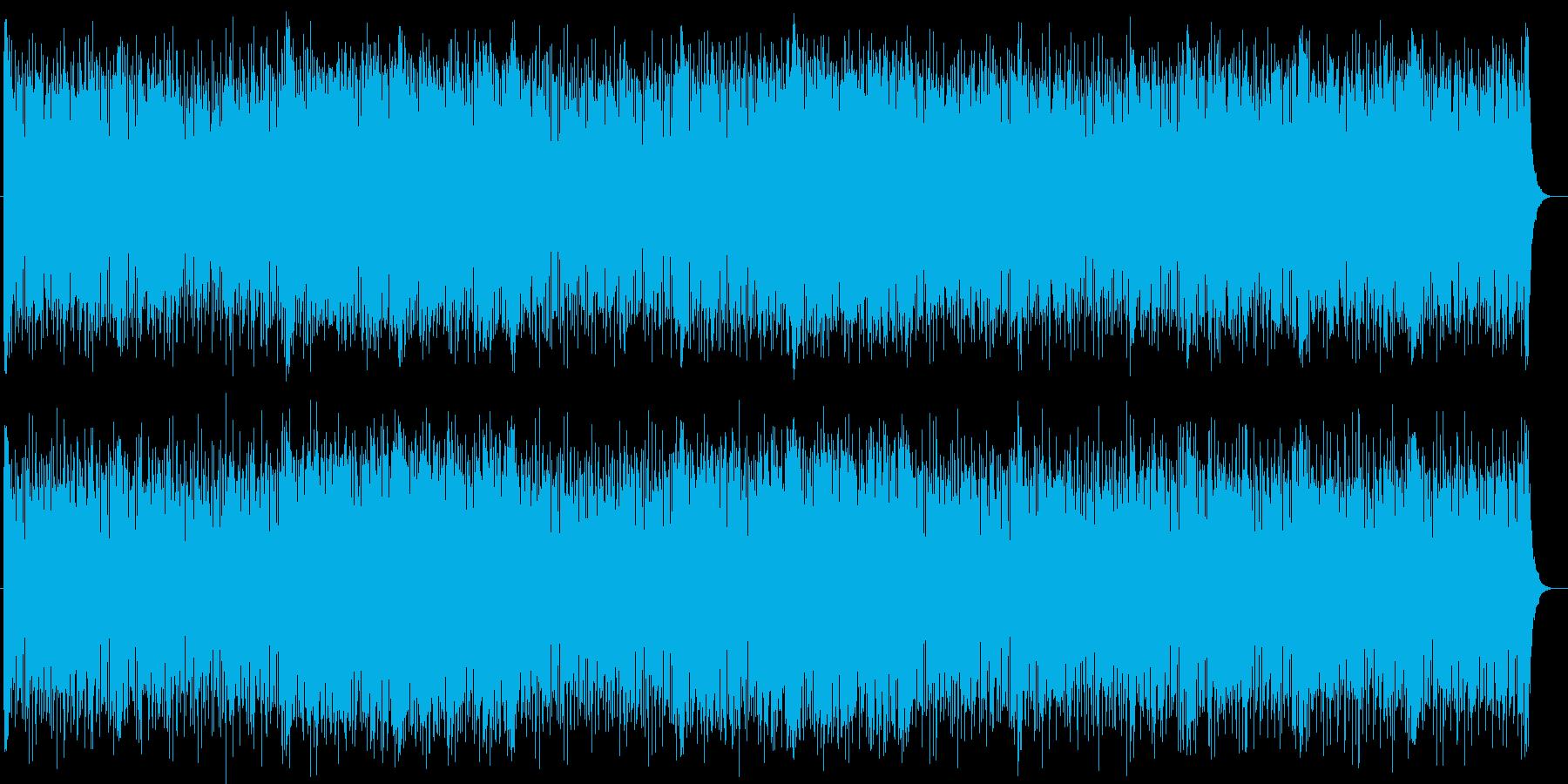 闘争心が高まるシンセサイザーの曲の再生済みの波形