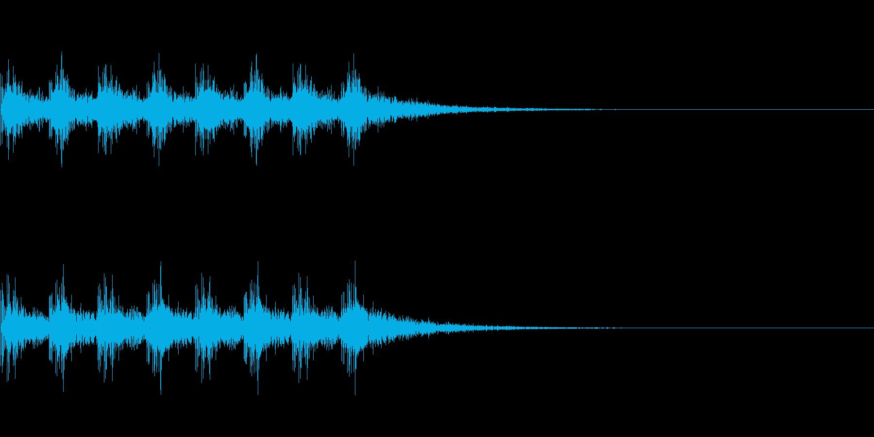 3人並んで歩いている音の再生済みの波形