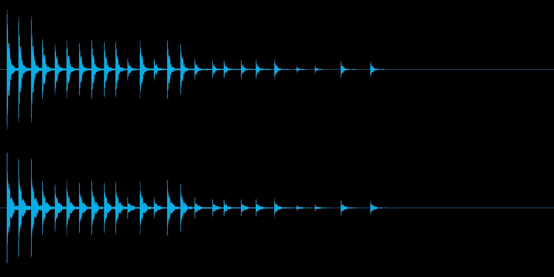 軽快な木鉦(もくしょう)フレーズ音+FXの再生済みの波形